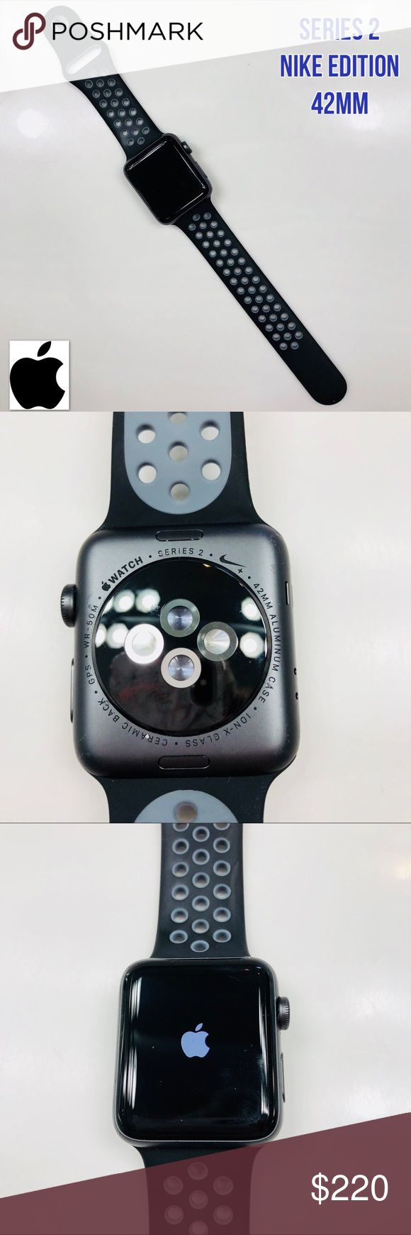 Apple Watch Series 2 42mm Nike Edition like New! Apple Watch Series 2 42 mm Nike Edition  No Trades   Like all Apple Watch Series 2 models, Apple Watch Nike+ has built-in GPS to track your pace, distance, and route — even if you don't have your iPhone with you. With the brightest display Apple has ever made, your metrics are easy to read, no matter how much the sun glares. And Apple Watch Nike+ is rated water resistant 50 meters,* so you can even take a post-run dip in the pool.   Great…