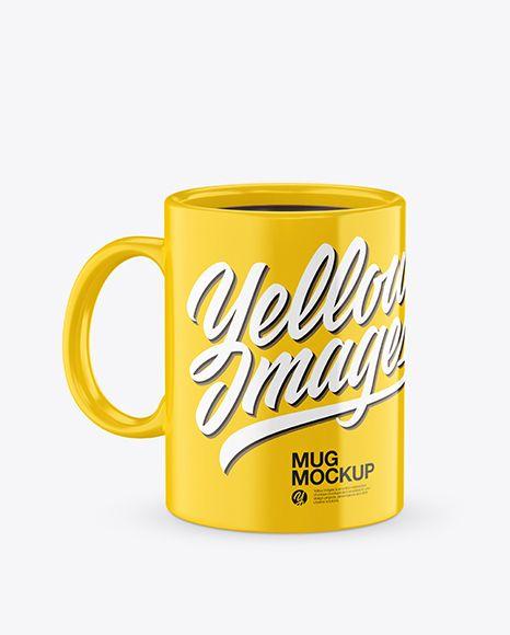 Glossy Mug With Tea Bag & Spoon Mockup (High-Angle Shot)