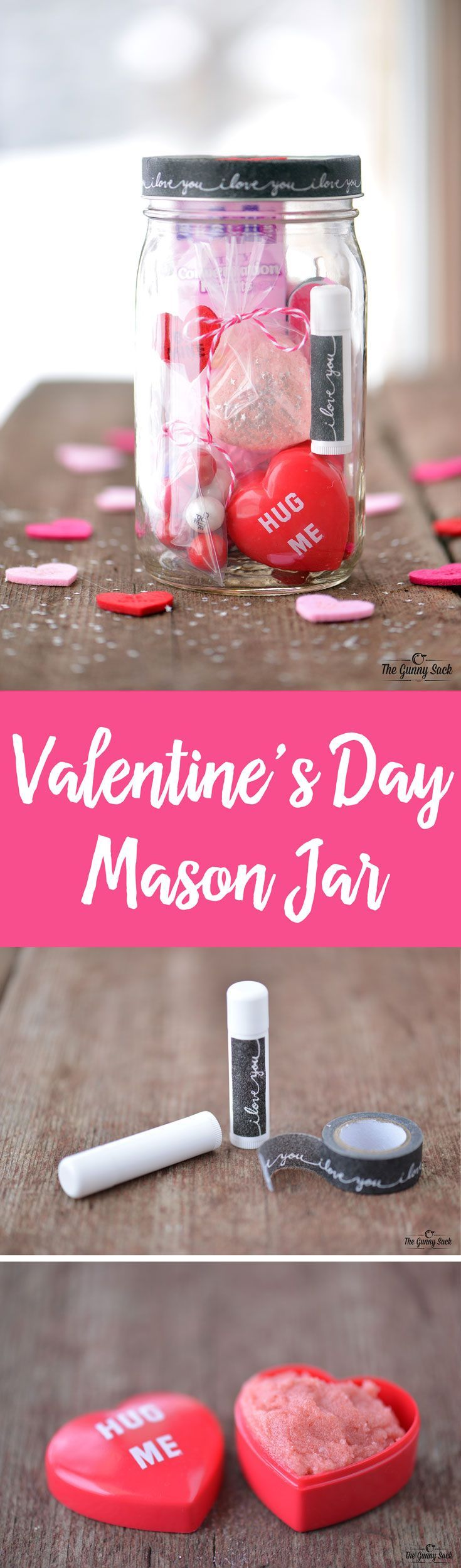 This Valentine's Day Mason Jar is full of pampering spa items and sweet treats. Make a gift in a jar for your wife, girlfriends, teachers or your mom!