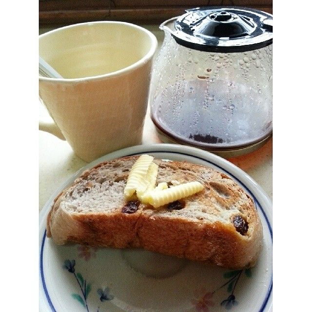 Early Grey #bread with raisins and nuts from The Breadery. Toasted with butter served with freshly brewed coffee. Gooooodmorning! #philippines #manila #food #thebreadery #earlgrey #breakfast