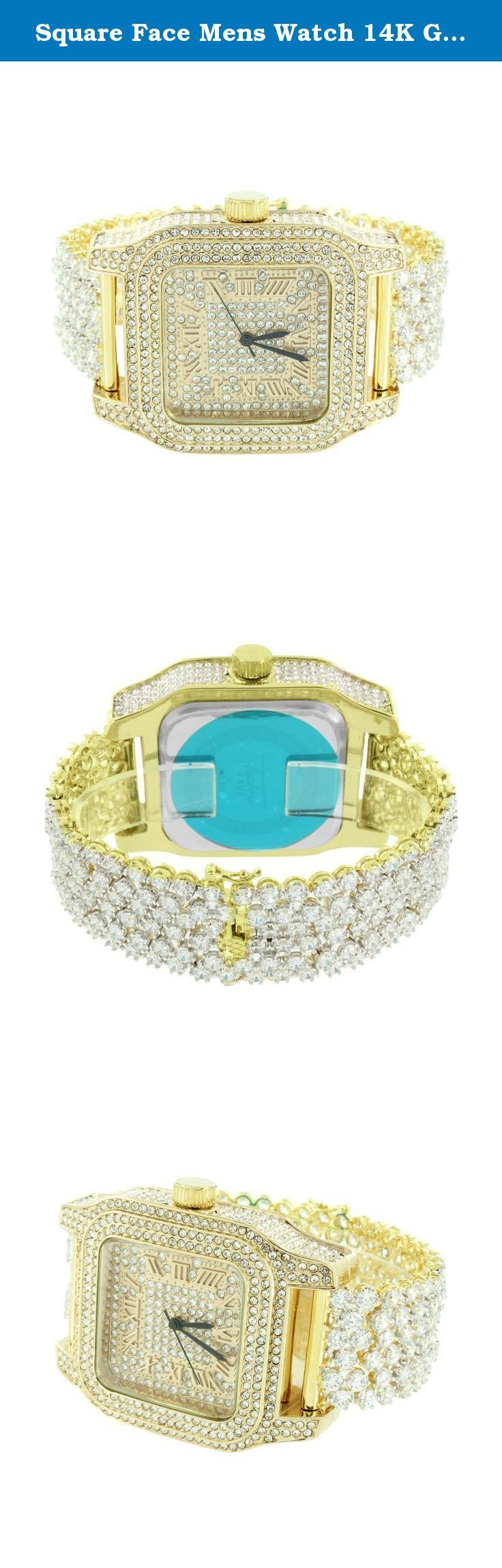Square Face Mens Watch 14K Gold Finish Iced Out CZ Watch Prong Set Bracelet Jojo. - Custom Design Watch - Brand New - Simulated Diamonds The item listed here comes with a Gift watch box You Get FREE SHIPPING With This Purchase We specialize in custom jewelry. If you can think it, we can make it!.