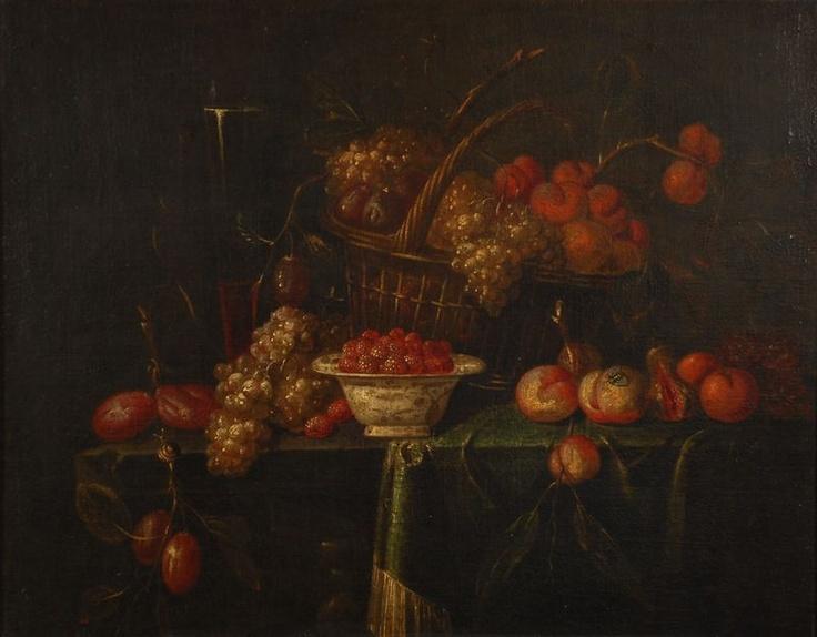 Ecole flamande, Panier de fruits et coupe de framboises sur une table partiellement drapée,fin XVIIe s.PhotoBrussels Art Auctions