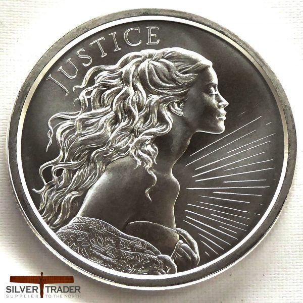 """SILVER  Round Coin from Silver Shield 2018   /""""JUSTICE/""""  1 oz"""