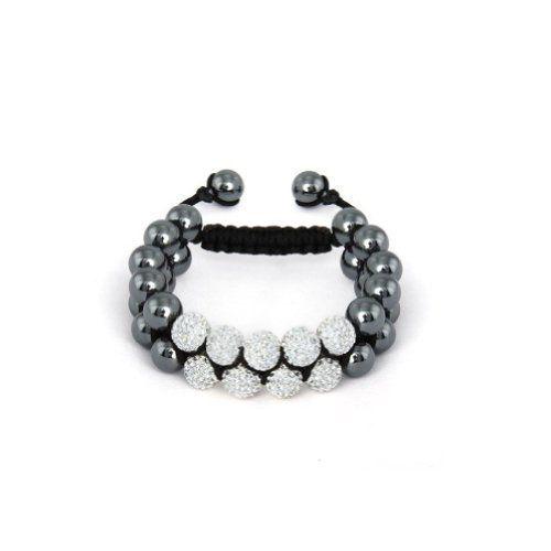 White Crystal Pave Spiritual Bead Bracelet Shamba ($15.99)