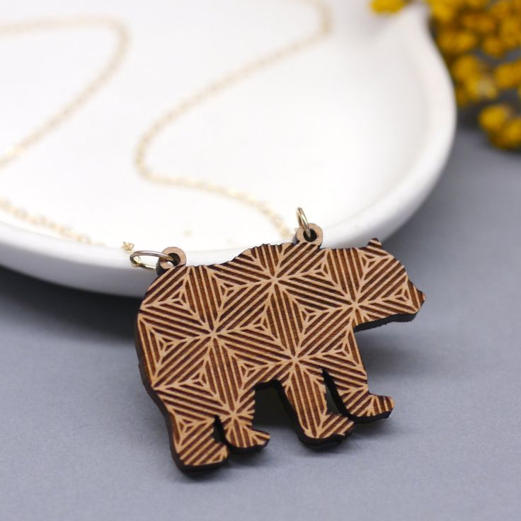 Geometric bear necklace designs and bears on pinterest