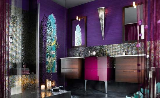 Moroccan Style Bathroom with Ethnical Sense of Bathing: Moroccan Bathroom Purple Wall