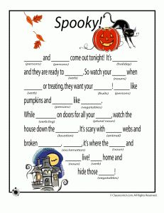 my 7 year old daughter loves to create funny and creative stories using mad libs - Story About Halloween