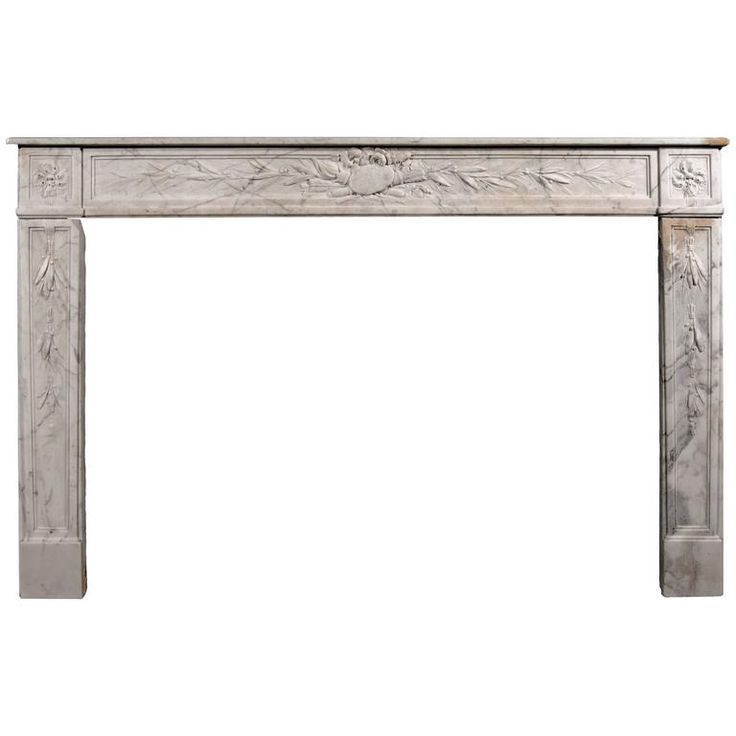 18th Century French Louis XVI Veined White Marble Fireplace