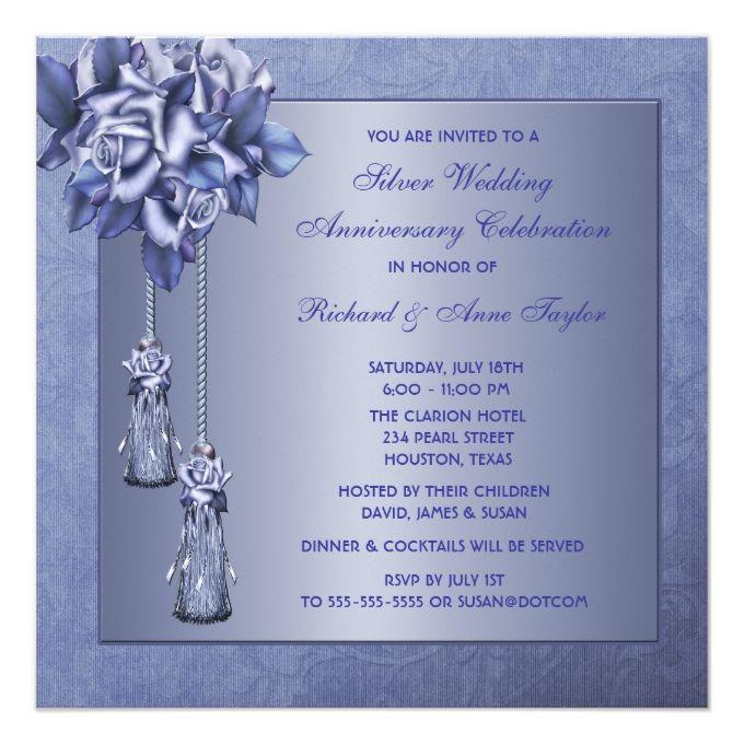Purple Rose 25th Wedding Anniversary Party 525x525 Square Paper Invitation Card