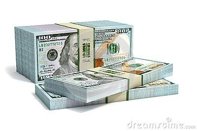 Stacks of new 100 Dollar bills – 3D Rendering