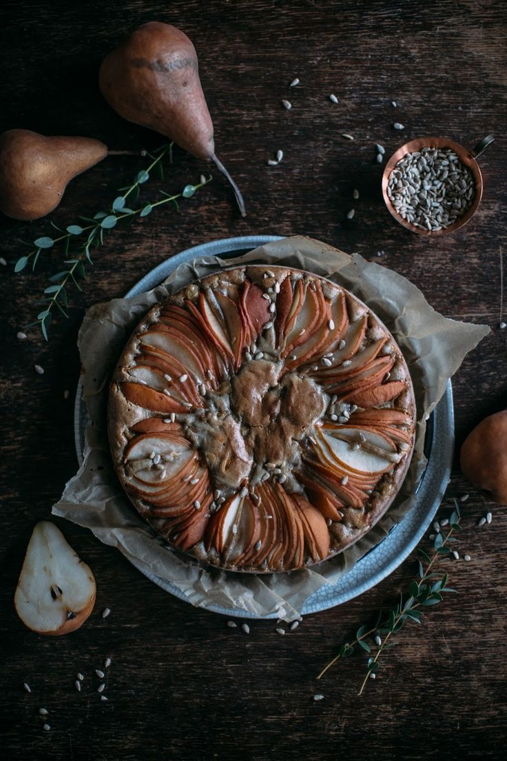 gluten free pear-sunflower seed cake