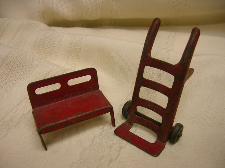 Vintage Doll House Metal Furniture Miniature 2 Wheel Dolly & Double Seat Red #Unbranded