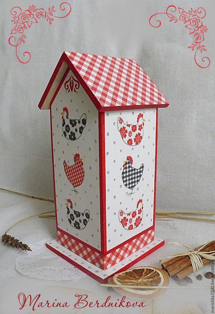 """Купить Кухонный набор """"Курочки"""" - ярко-красный, чайный домик, чайный домик декупаж, часы"""