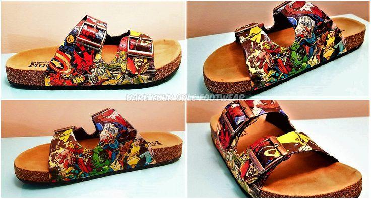 Marvel Comics Birkenstock Sandals. Everyday wear, weddings, parties, Comic-Con, etc! Iron Man, Deadpool, Loki, Thor, Wolverine, Avengers by BareYourSoleFootwear on Etsy