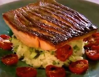 Gordon Ramsay's Crispy Salmon | Gordon Ramsay's Recipes  (written).  I used fennel fronds as the herb.