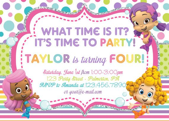 17 Best images about Khloie 2nd birthday bubble guppies on – Bubble Invitations Birthday