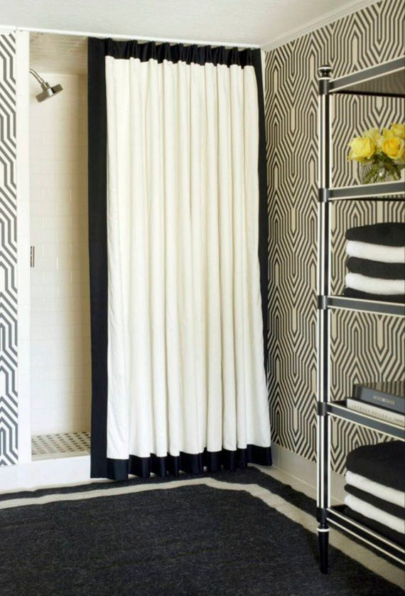 Custom Made Black Trimmed Shower Curtain In White Or Ivory Cotton