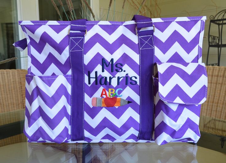 "Teacher  Tote bag, 16"" and/or 19""  utility tote, Nurse's tote, teacher's tote, Purple chevron by StitchedInStyle1 on Etsy"