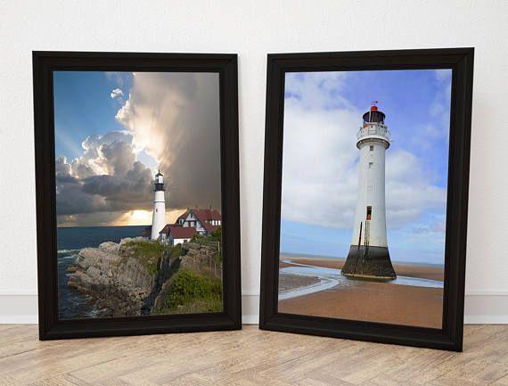 Lighthouse Photo. Lighthouse Print. Lighthouse Wall Art. Seaside Print Coastal Prints. Beach Cottage Print. A4 - 210x297mm. Shop: http://etsy.me/2wBqhKw  #Lighthouse #CoastalPrint #WallArt