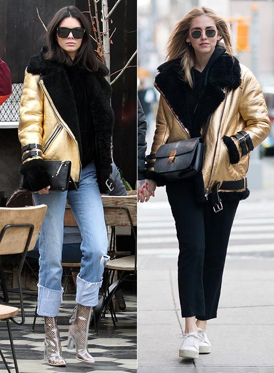Kendall Jenner y Chiara Ferragni con la misma chaqueta dorada