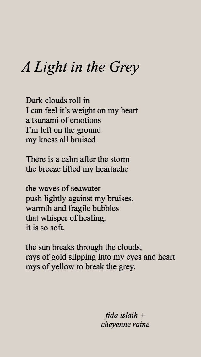 A Light In The Grey A Collaborative Poem By Fida Islaih