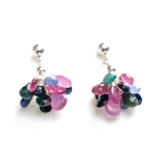 Silver Oriental Emerald Sapphire Ruby Earrings by Jeva Jewels #Etsy #JevaJewels #handmadejewelry #statementjewelry #swissmade