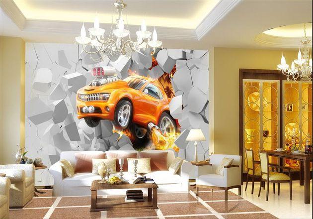papier peint 3D personnalisé chambre ados voiture orange