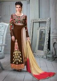 Party Wear Brown Satin Silk Embroidered Work Straight Suit