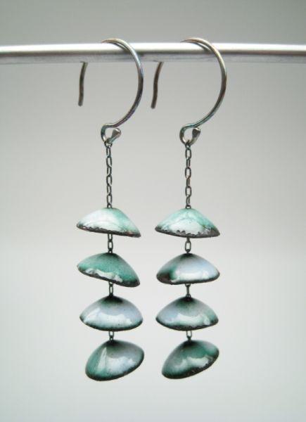 Aran Galligan earings Enamel, Copper, Sterling Silver, 2008