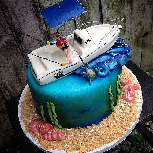 #fishing #boat #cake by #sweetcharitysbakery #ocean #seashells #waves #marlin