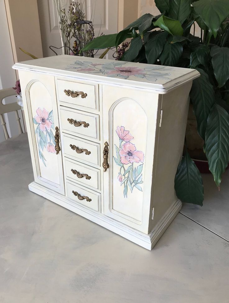 Wooden Jewelry Box / Painted Vintage Jewelry Armoire / Upcycled Shabby Chic Jewelry Chest / OOAK Designer Jewelry Box by ByeByBirdieDesigns on Etsy https://www.etsy.com/listing/530031297/wooden-jewelry-box-painted-vintage