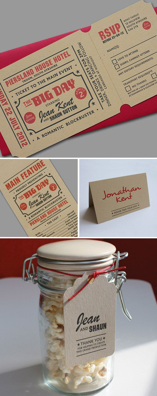 Pretty cool movie ticket style wedding invites! could be the take homes with some awesome popcorn