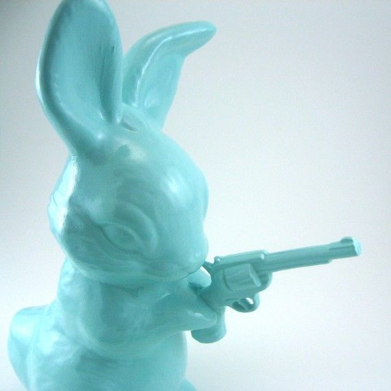 Bunny with a gun by snew on Etsy: Rabbit, 35 00, Guns Statues, Arm Bunnies, Couve-Flor Bangs Bangs, Etsy 35, Cutest Bunnies, Ceramics Bunnies, Bunnies Bangs