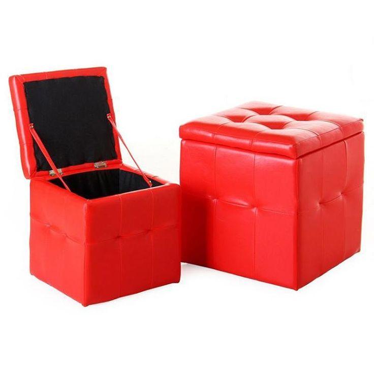 Set 2 puff s arcón polipiel rojo 39x39x43cm 25351