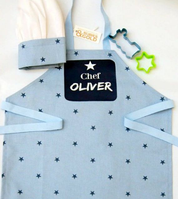 Boy's Chef Apron & Hat Personalized Printed Apron Blue