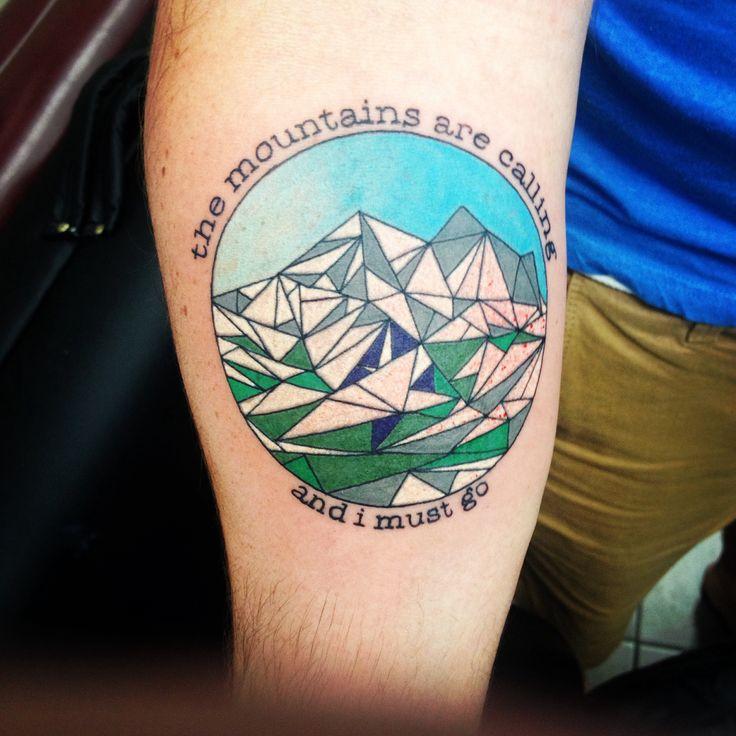 My geometric mountain tattoo. John Muir quote and crown