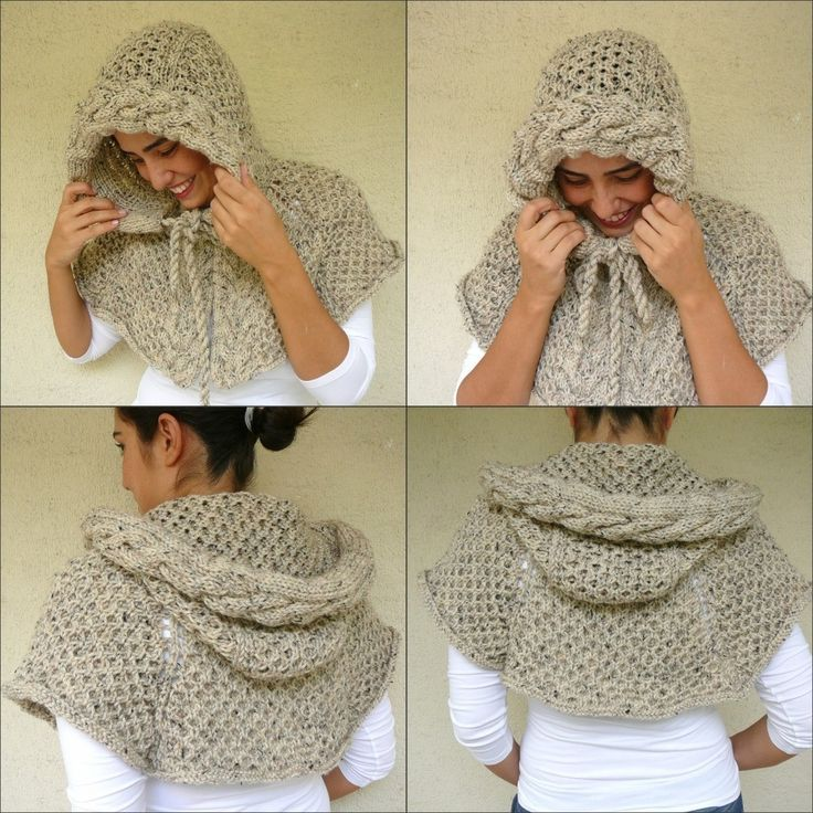 Beige Tweed Poncho With Cable Knit Hood