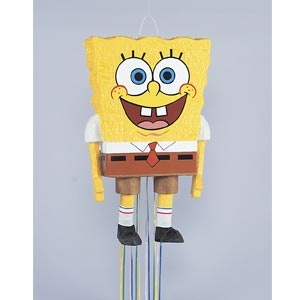 """Spongebob SquarePants Pull Pinata features a colourful hangtag with tips and instructions.    Play the traditional Pinata game or create colourful decorations with our easy to fill   pinatas.  Pinata measures 23"""" high x 14"""" wide."""