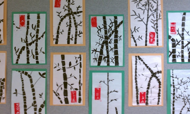 bamboo painting with red styrofoam print....includes several Asian-inspired lessons