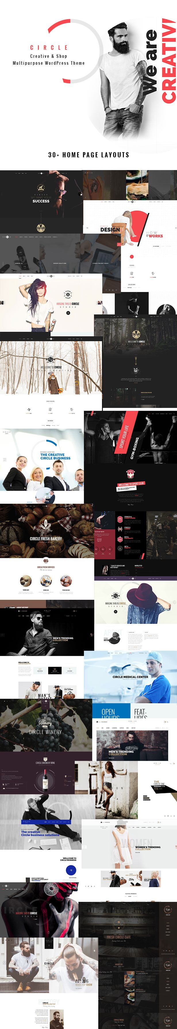 Overview     Circle is an all-purpose, inspiring, exquisite WordPress theme - Circle is a modern design stunning #WordPress theme for creative #studio and multipurpose eCommerce #website with 30+ unique homepage