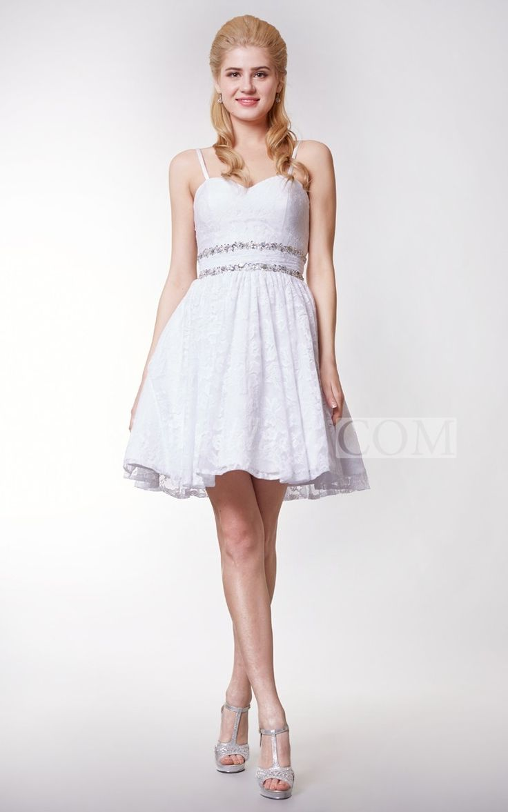 Make the most unforgettable first impression at your prom in this elegant above-the-knee, a short white prom dress made with the comfortable lacy material, that will keep you on the dance floor all night! With a stunning waistline, studded with gorgeous embellishments, to add some extra spark to your night! The spaghetti straps are removable if you so desire to go strapless! #white #short #DorisWedding.com