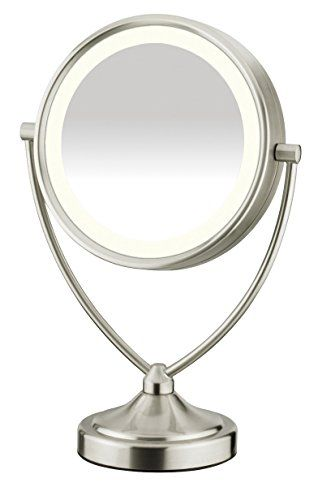 Conair Round Shaped Natural Daylight Double-Sided Lighted Makeup Mirror; 1x/10x magnification; Satin Nickel Finish. For product & price info go to:  https://beautyworld.today/products/conair-round-shaped-natural-daylight-double-sided-lighted-makeup-mirror-1x10x-magnification-satin-nickel-finish/