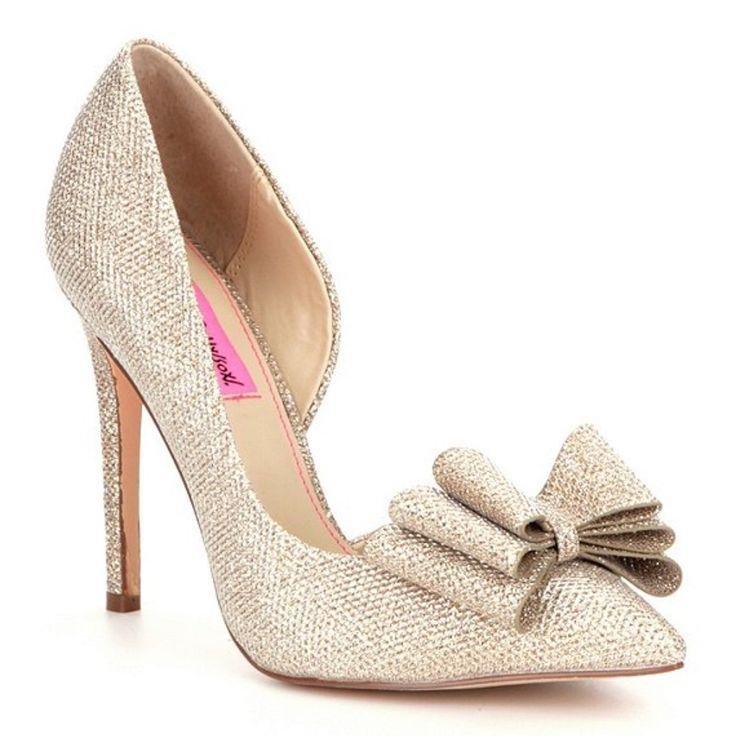 Betsey johnson shoes betsey johnson gold sparkle bow