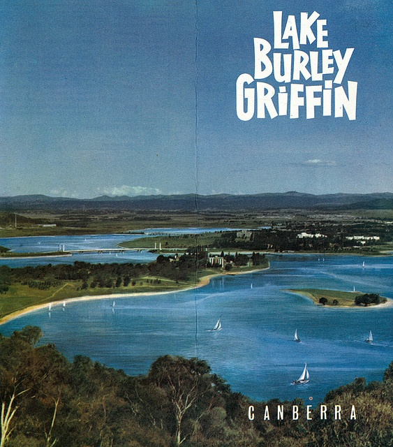 Canberra and the newly formed Lake Burley Griffin, July 1964. The lake was created by damming the Molongolo River.