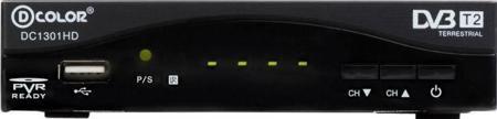 D-COLOR DC1301HD DVB-T/T2  — 1174 руб. —  MPEG-2, MPEG-4, DVB-T/T2, цифровое видео (FULLHD 1920х1080) и аудио STEREO качества, чипсет и демодулятор последнего поколения MStar7802, тюнер Maxlinear 603, USB, электронный гид(EPG), отображение телетекста, субтитров, корпус-металл, дисплей с часами.