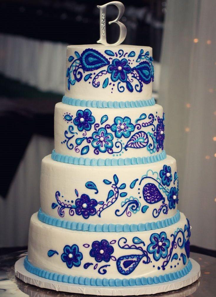 Baking The Perfect Cake Tips | Amazing Design White Wedding Cake Designed With Blue Patterns