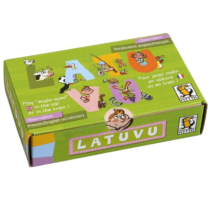 Perfect for holidays - a fun travel observation game that helps with French vocabulary. Latuvu contains 33 humorously illustrated cards with English and French captions and comes with instructions for different games and challenges.