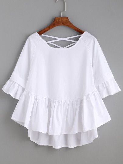 White Crisscross Back Ruffle Top Only US$14.00