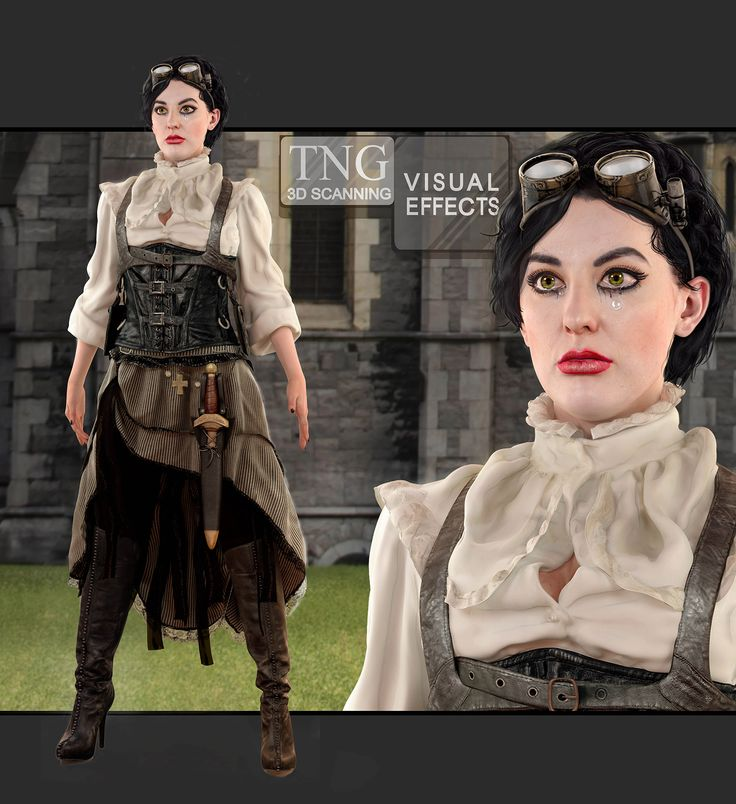 This character is sort of a vampire/pirate. We built her from 3D scans. Very realistic, you can't even tell!