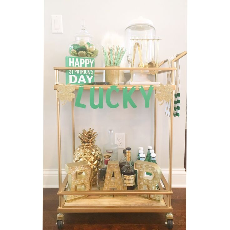 St Patrick's day bar cart. Home decor. Gold decor. Bar cart styling. Marquee letters. Cheers. Holiday decor. Saint Patrick's day. Bubbly bar.